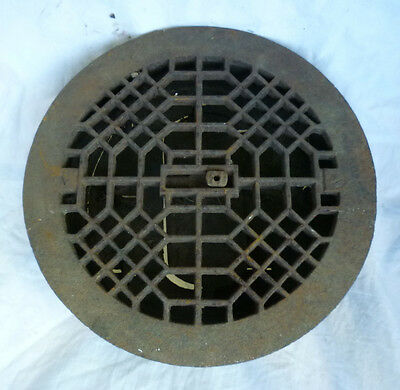 "Antique Cast Iron Round Grate Heat Wall Criss Cross Lattice SALVAGE 9-3/8"" Out"