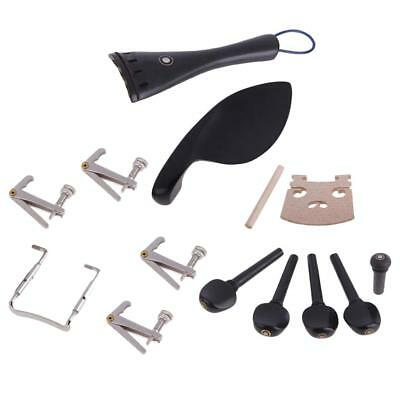 4/4 Violin Set Ebony Tailpiece Maple Bridge Chinrest Clamp Tuning Peg Endpin