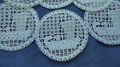 Vtg Set 6 FIGURAL ALL RETICELLA LACE Cocktail Napkins Man on Fishing Sailboat