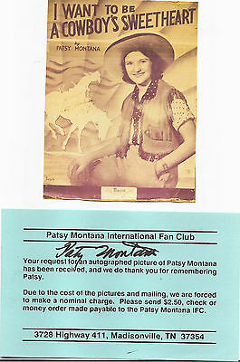 Patsy Montana  - Vintage In Person Genuine Hand Signed Flyer/coa.picture.
