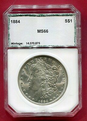 Docs 1884 Morgan Silver Dollar - OLD PCI Holder MS+++++ Stunning Coin! Free Ship