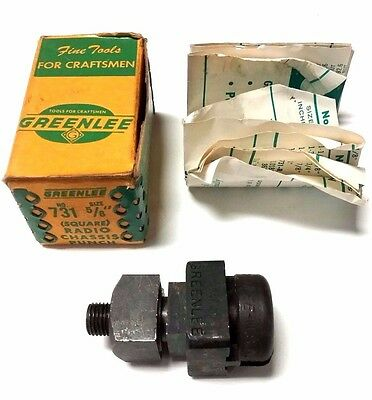 """New - Greenlee 5/8"""" Square Radio Chassis Knock Out Punch Set - Model 731 - Usa"""