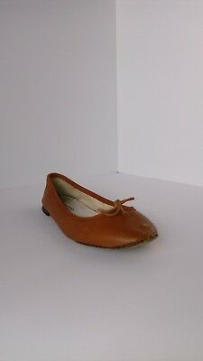 Women's REPETTO Brown Leather Ballerina Flats Size 6 round toe slides