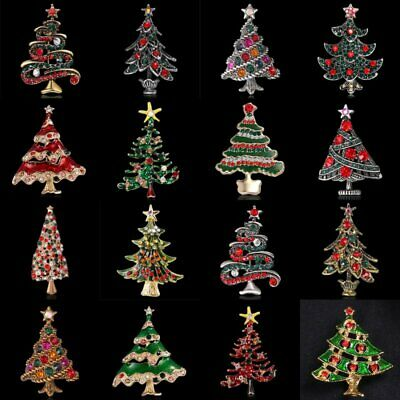 Vintage Silver/Gold Plated Crystal Rhinestone Christmas Tree Brooch Pin Jewelry