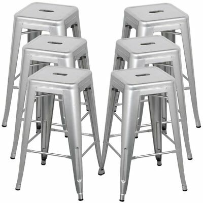 "NEW Set of 6 Bar Stool 30"" Vintage Antique Style Chair Counter Stackable Silver"