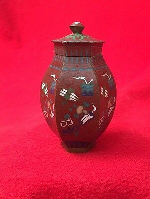 Antique Chinese Miniature Lidded Cloisonne Vase Red Scrolls Pipe Fan
