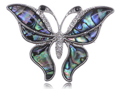 Silver Tone Faux Shell Wing Queen Butterfly Clear Rhinestone Fashion Pin Brooch