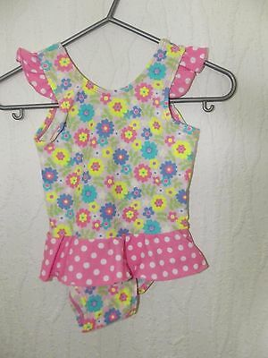 Baby Girl Multi Colour With Floral And Dots Pattern Swimsuit In Size 3-6 Months