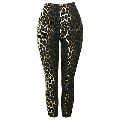 Hell Bunny Panthera Leopard Print Rockabilly 1950s High Waist Capri Trousers