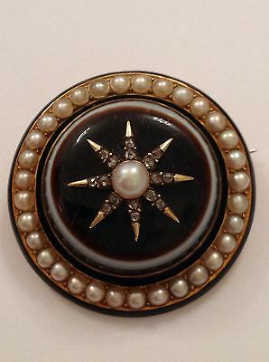 Exceptional Fine 15ct Gold Antique Banded Agate, Pearl & Rose Diamond Brooch