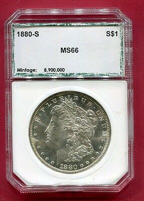 Docs 1880 S Morgan Silver Dollar - OLD PCI Holder MS+++ Stunning Coin! Free Ship