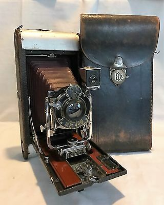 No. 3-A Folding Pocket Kodak Camera Model B-4 with Red Bellows, Wooden Bed