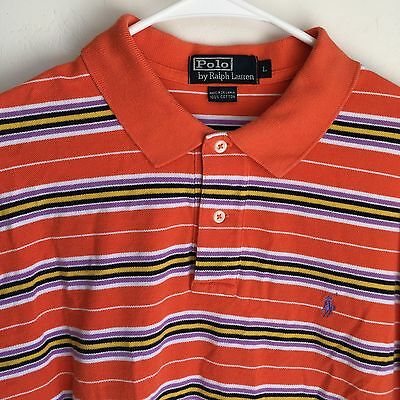 Mens Polo Ralph Lauren, S/S Athletic Golf Shirt, Striped, Pony Logo, Large