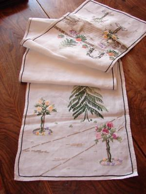 Vintage Table Mat,Table Centre,Runner~Super Hand Embroidery~White Linen
