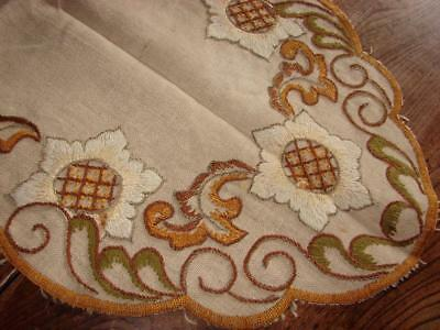 Vintage Table Mat,Table Centre,Runner~Super Hand Embroidery~Natural Linen