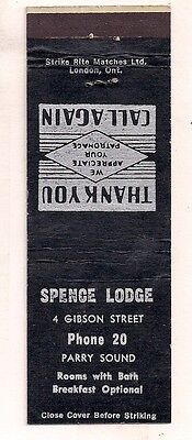 Spence Lodge 4 Gibson Street, Parry Sound ON Ontario Matchcover 080117