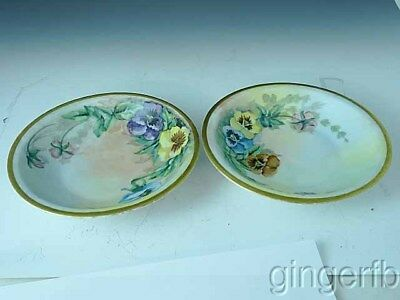 "2 Hand Painted Bavarian Bavaria 7 1/2"" Soup Bowls With Pansies Artist Signed"