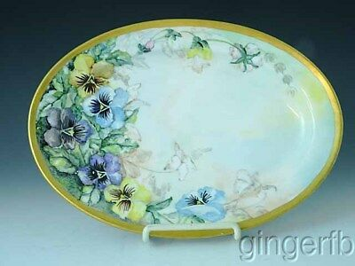 "Hand Painted Bavarian Bavaria 11 3/4"" Platter With Pansies Artist Signed"