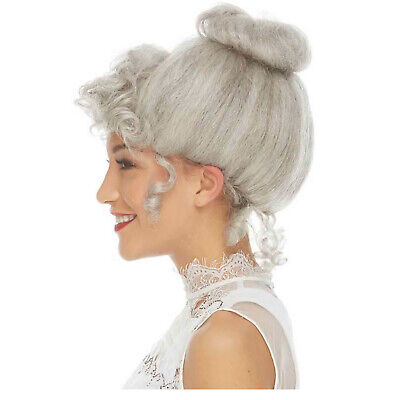 Adult Womens Grey Gibson Girl Wig Costume Curly Bun Old Fashioned Mrs Claus 1900