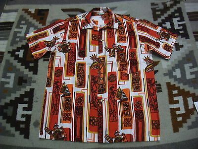 VTG 60s 70s Tribal Abstract OP Art Sateen Hawaiian Aloha Shirt White Medium Q04