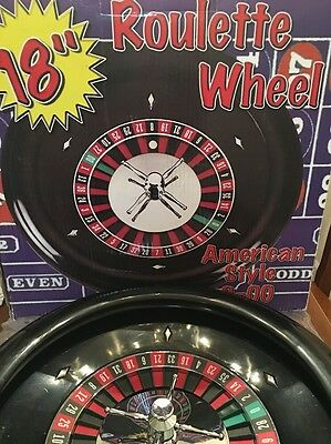 """18""""  ROULETTE WHEEL - AMERICAN casino style 0-00 slightly used ugly box freeship"""