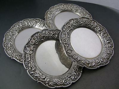 4 Sterling S KIRK & SON Butter Pats / Dishes REPOUSSE no.17 ~no mono