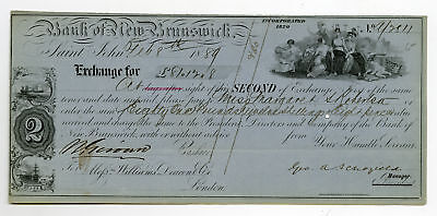 Canada Bank of New Brunswick Exchange Check Dated 1889 Williams Deacon Co.