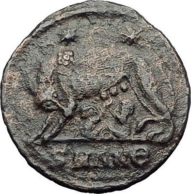 CONSTANTINE I the GREAT 335AD Romulus Remus WOLF Rome Ancient Roman Coin i63273