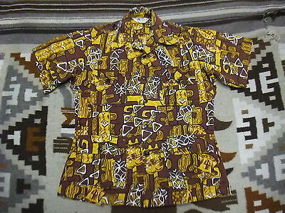 VTG 70s 4 Pocket Safai Hawaiian Aloha Style Shirt Yellow Brown Small S ? (P26