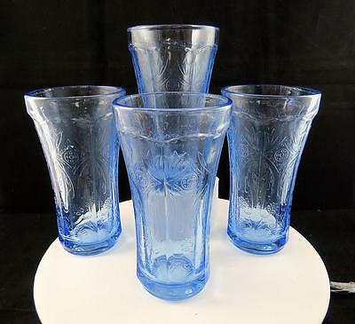 "Federal Indiana Recollections 4 Piece Blue Madrid 6 1/4"" Ice Tea Glasses 1970"