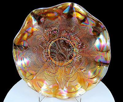 "Imperial Carnival Glass Marigold Pansy & Stippled Arches 9"" Ruffled Bowl"