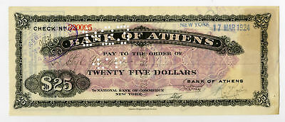 Greece Bank of Athens $25 Traveler's Check Cashed in New York on 17 March 1924