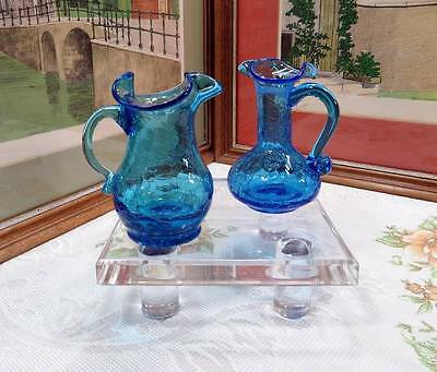 "2 Pc Vintage Hand Blown Blue Crackle Glass 4 3/8"" Cruet & Mini Pitcher 1930-1960"