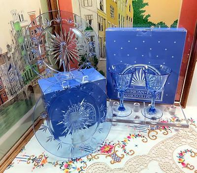 4 PC AVON AMERICAN BLUE DINNER PLATES AND WATER GOBLETS WITH BOXES 1980's