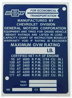 New Reproduction Data Tag / Identification Plate For 1965-1966 Chevy Truck (A)