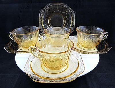 "Federal Glass Four Older Madrid Amber 2 1/2"" Flat Cup And Saucer Sets 1932-1938"