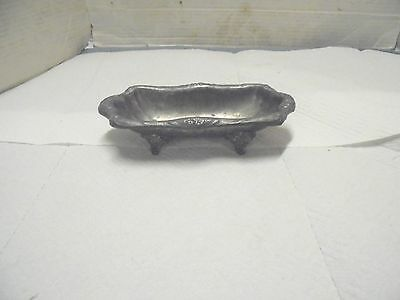"8"" claw foot dish rockford silver company  quadruple plate 722 butter soap dish"