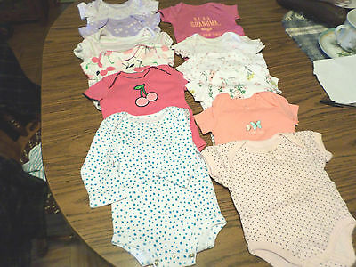 12-Baby Girl's Different Name Brands Onsies Size 0-3 Month
