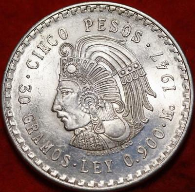 Uncirculated 1947 Mexico 5 Pesos Silver Foreign Coin Free S/H!