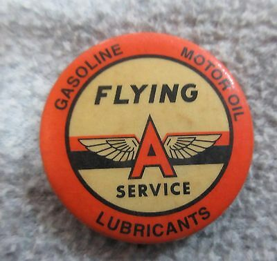 Original 1940's FLYING A SERVICE Gas & Oil CELLULOID Pin Back Button  Excellent