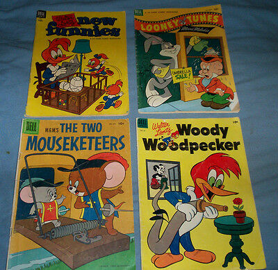 Lot of 4 Vintage 1950's Dell comics Woody Woodpecker+New Funnies+ Loony Tunes +