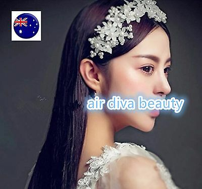 Women lady White Pearl Bride Crystal Flower Party Hair headpiece Headband Prop