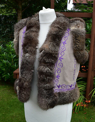 Amazing Vintage 1980s Suede, Embroidered Afghan Hippy Boho Gilet Waistcoat