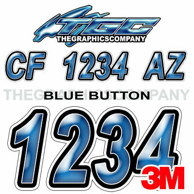 Blue Button Custom Boat Registration Numbers Decals Vinyl Lettering Stickers