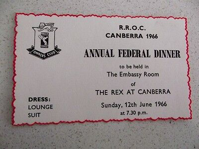 Rolls Royce Owners Club Dinner Ticket (Canberra) - 1966