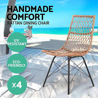 4x Outdoor Dining Chair Furniture Rattan PE Wicker Garden Patio Cafe Natural