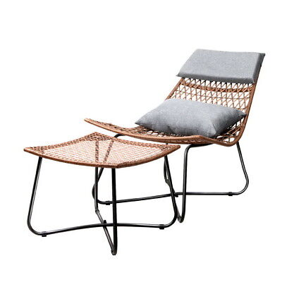 Outdoor Furniture Lounge Chair Set Sun Day Bed Rattan PE Wicker Garden Natural