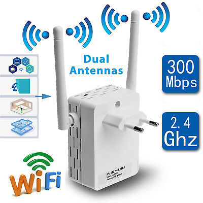 300Mbps 2.4Ghz WiFi Range Wireless Signal Booster Repeater Router Dual Antennas