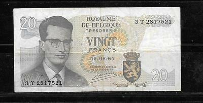 Belgium #138 1964 Vg Circulated 20 Franc Old Banknote Currency Paper Money Note