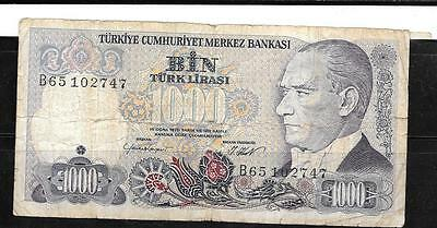 Turkey #196 1986 1000 Lira Vg Used Old Banknote Bill Note Paper Money